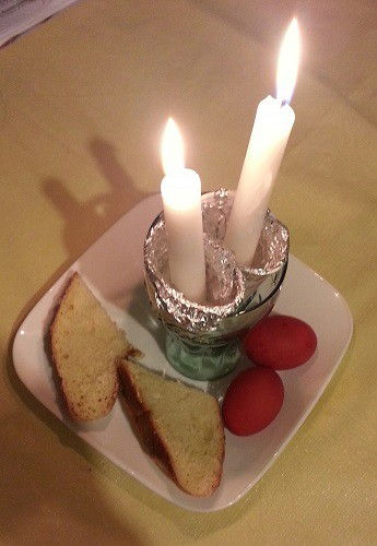 Easter Candles, Bread, and Red Eggs